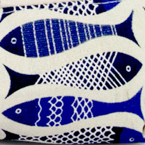 blue antique fish tote pattern