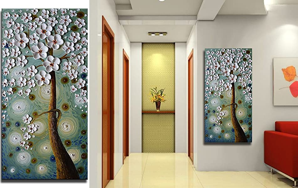Asdam Art  3D Oil Paintings 100% Hand Painted Pictures Of Trees Home Canvas  Wall Art Dining Room Paintings For Living Room Wall Décor Framed Art For  Bedroom ...