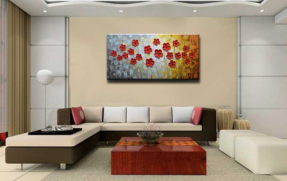 Amazon.com: Asdam Art Red Daisy Painting 3D Flower Oil Paintings ...