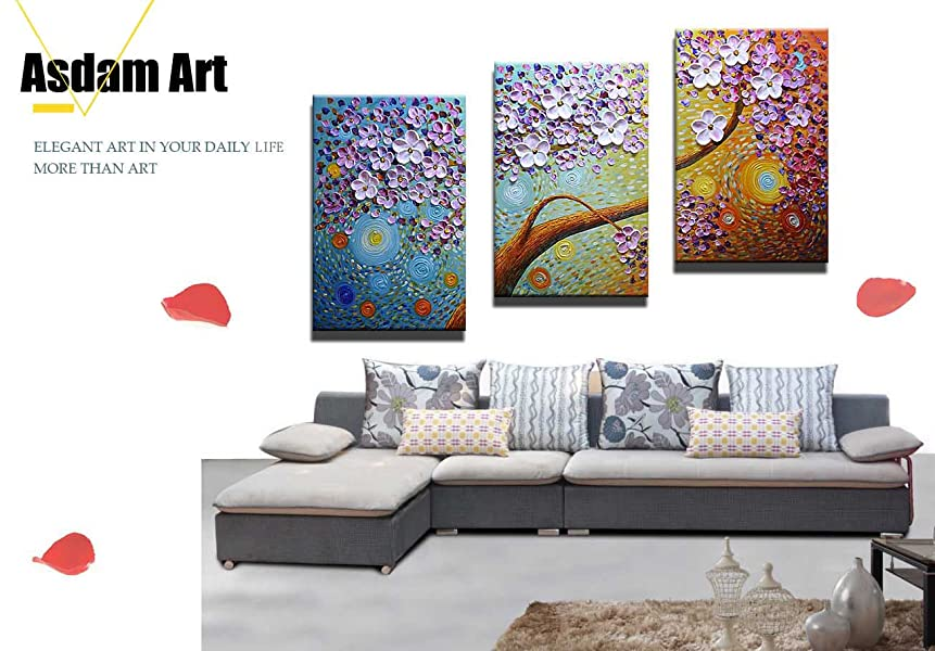 Amazon.com: Asdam Art-(100% Hand painted 3D) Floral Paintings On ...