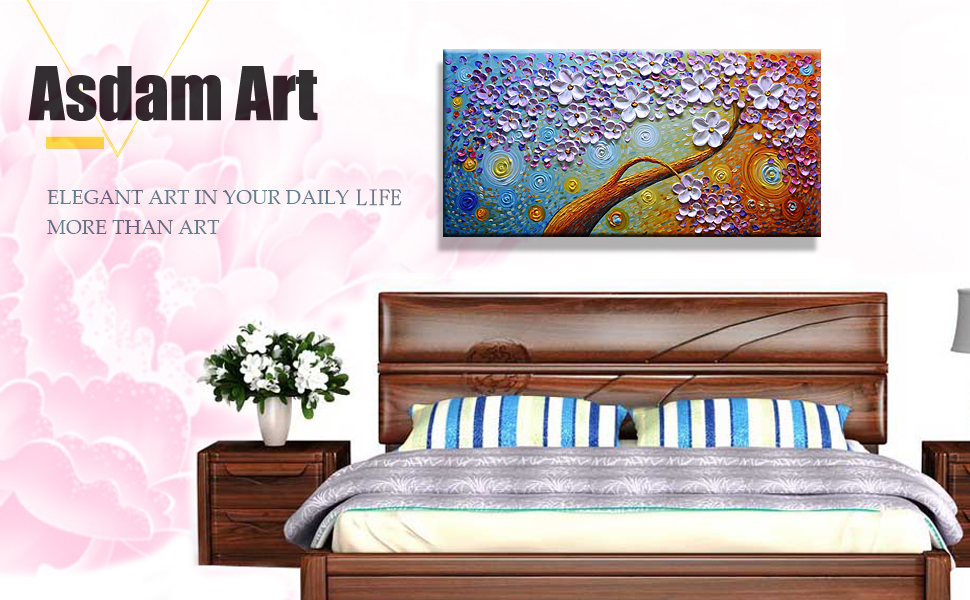 Charmant Asdam Art Pink Flower Paintings On Canvas Abstract Oil Paintigns Wall Art  For Living Room Bedroom(24x48inch)