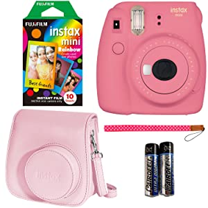 Flamingo Pink Fujifilm Instax Mini 9 Instant Camera Bundle