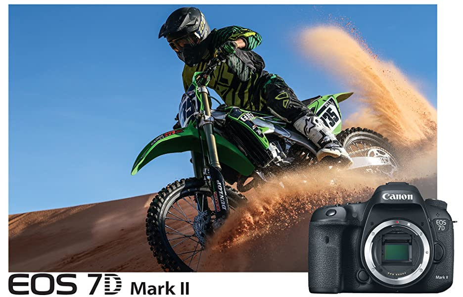 Canon EOS 7D Mark II Digital SLR Camera (Body) + 64GB Memory Card + 60 Inch  Tripod + Spare Battery + Slave Flash + Professional DSLR Case + Accessory