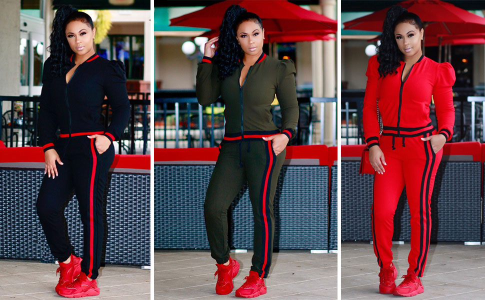 Women 2 piece outfit zippper jacket coat and pant set