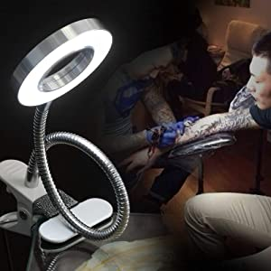 Clip on Clamp LED Gooseneck Desk Light Lamp, Clip-on Changeable C-Clamp Nightlight USB Port Silver