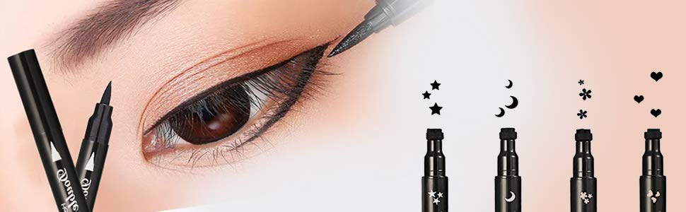 Pinkiou Eyeliner Pencil Pen with Eye Makeup Stamp Waterproof Double Sided Long Lasting Seal 4 in1