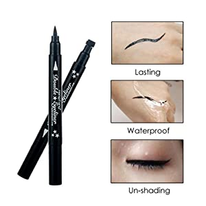 2 in 1 Double-headed Liquid Eyeliner Pen Stamp Super Slim Gel Felt Tip High Pigment Cosmetic Tool