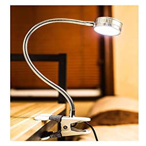 Clip on Light Eye-Care Desk Lamp Book Bed Headboard Computers USB Plug Durable Clamp Reading Light