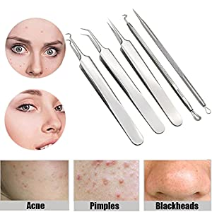 Pinkiou Acne Needle Kit Curved Blackhead Remover Tweezers for Blemish  Dermatologist Grade Nose Pimple Comedone Extractor Tool Set with Silver  Metal