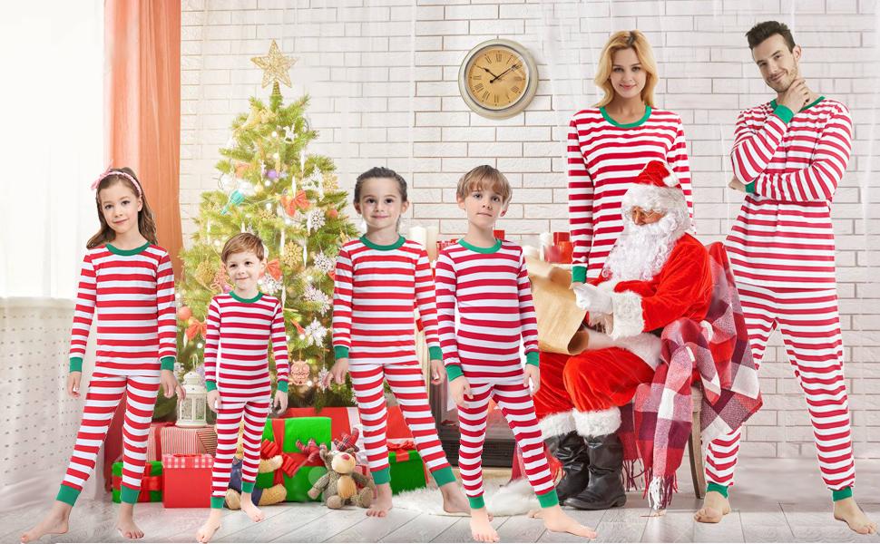 bec969b5cd Amazon.com  Matching Family Christmas Boys Girls Pajamas Striped ...