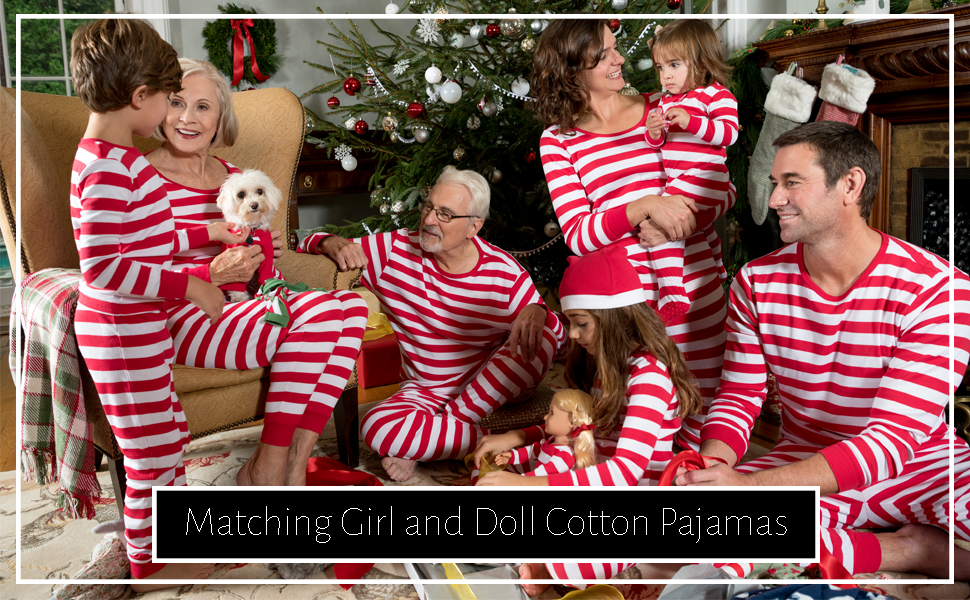Leveret, matching girl and doll, kids pajamas, christmas pajamas, stripes pajamas, matching family