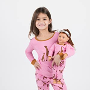 Leveret, Girl and Doll Pajamas, Matching Doll Pajamas, Girl Pajamas, Cotton Pajamas, kid pajamas
