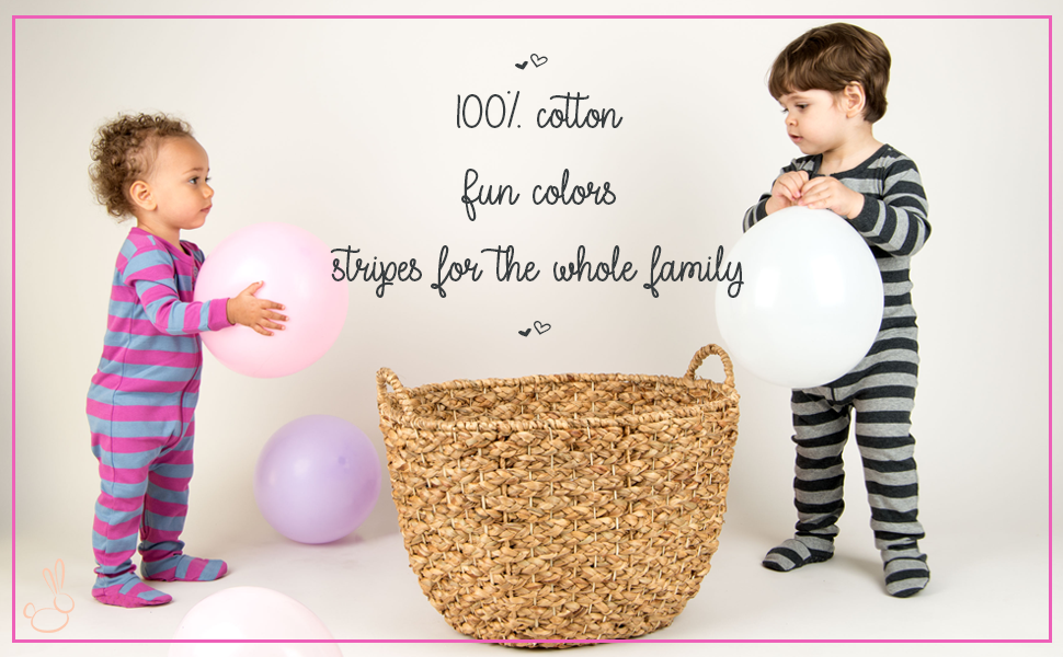 Leveret, Baby Footed Pajamas, Striped Pajamas, Toddler Pajamas, Matching Pjs, Baby PJs, Sleeper
