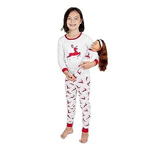Leveret, Christmas Pajamas, Girl and Doll pajamas, matching pajamas, family pajamas