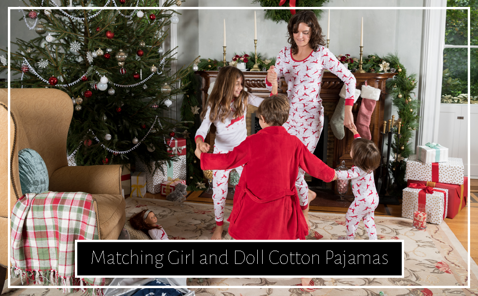 Leveret, Christmas pajamas, girl and doll pajamas, family pajamas, matching christmas, reindeer