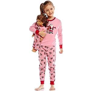 Leveret, matching Girl and Doll, Girl and Doll PJ, Girl Pajamas, Christmas Pajamas, Holiday PJs