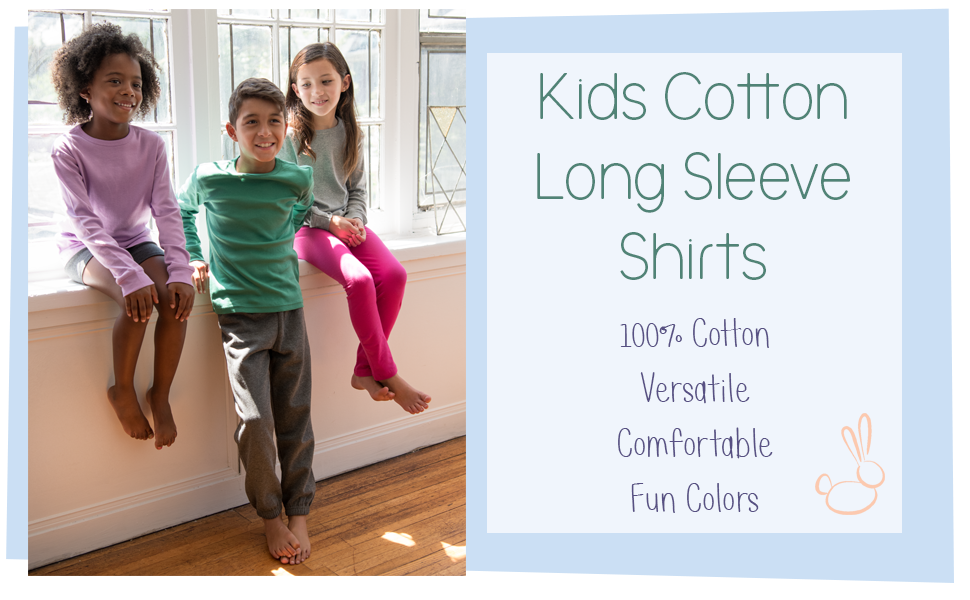 kids shirts, leveret, kids long sleeve shirt, boy shirt, girl shirt, solid color shirt, cotton shirt