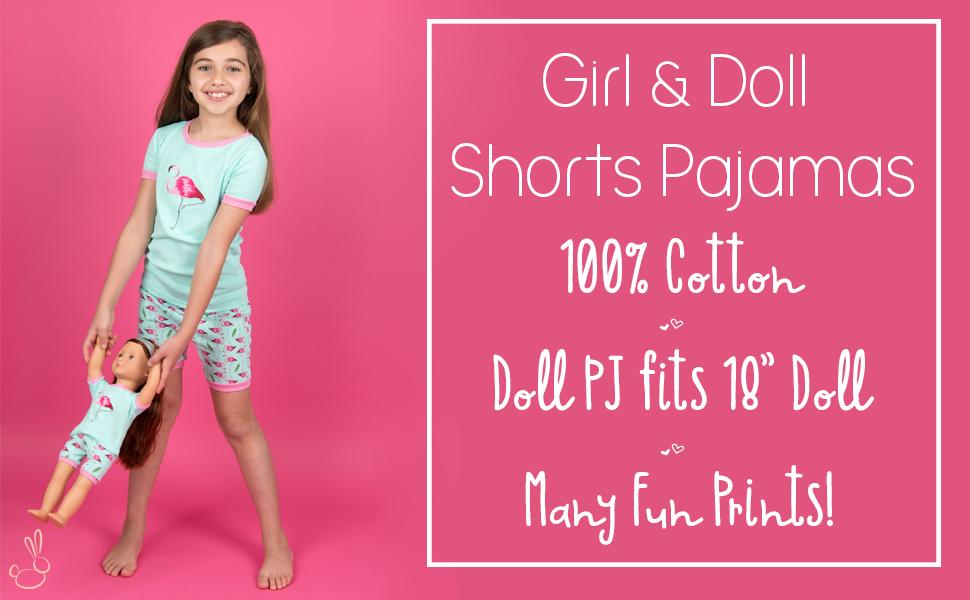 Leveret, Girls Pajamas, Girl and Doll Pajamas, Matching Pajamas, toddler Pajamas, Girl and Doll