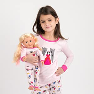 Leveret, kids pajamas, matching girl and doll pj, matching girl and doll pajamas, princess pajamas