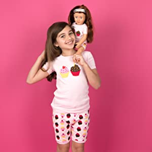Leveret, Girls Pajamas, Matching Girl and Doll Pajamas, Shorts PJs, Toddler Pajamas, Doll and Girl