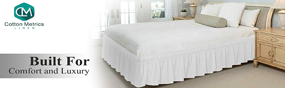 Solid Ivory 620 TC Cotton SPLIT Corner Tailored Bed Skirt All US Bed Size Drops