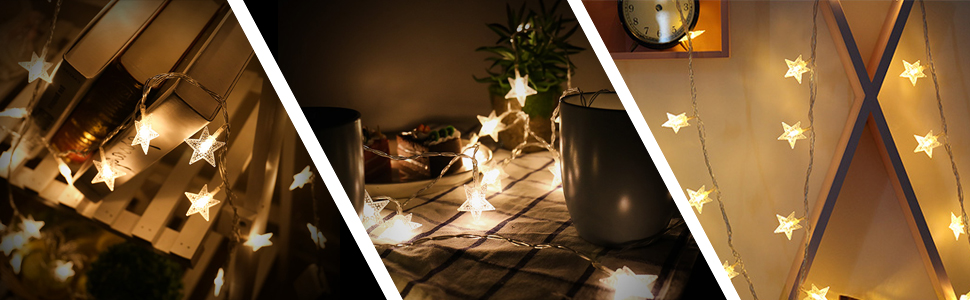 Amazon.com: Shayson Star - Guirnalda de luces LED con 50 ...