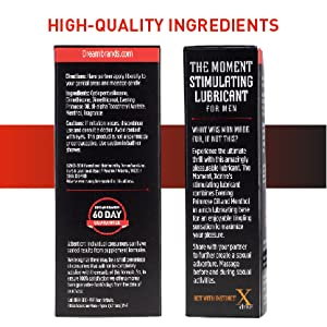 Back of XDrive and The Moment lube boxes showing ingredients; text reads: high-quality ingredients