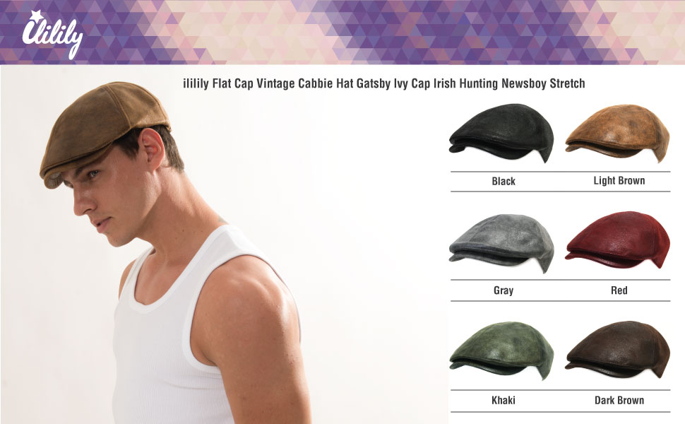 ililily Flat Cap Vintage Cabbie Hat Gatsby Ivy Cap Irish Hunting ... cb9f3bf9f63