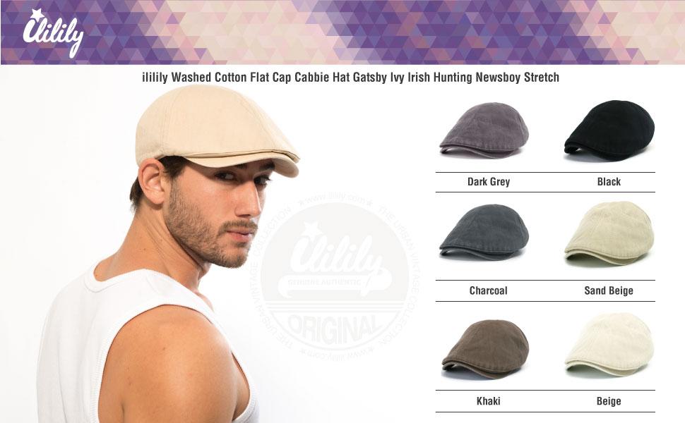 ililily Washed Cotton Flat Cap Cabbie Hat Gatsby Ivy Irish Hunting ... 69916957b131