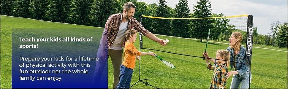 portable badminton net pickelball soccer tennis