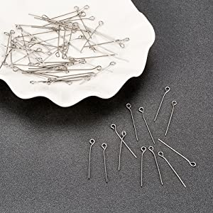 for DIY Jewelry Making 20mm Pandahall 500pcs 22 Gauge 304 Stainless Steel Open Eyepins 3//4 Inch