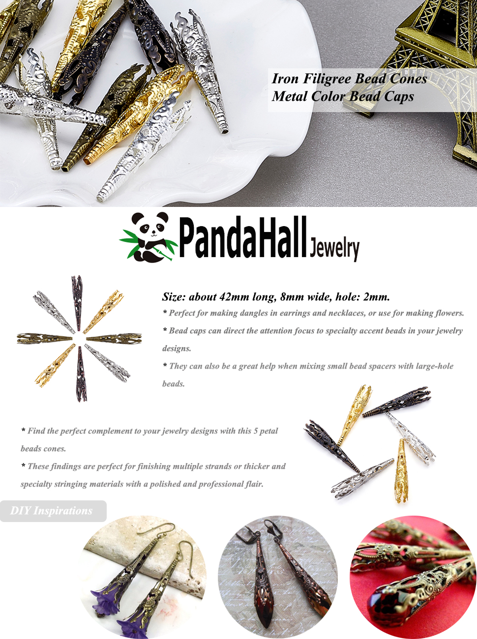 Pandahall 50pcs 5-Petal Iron Mixed Color by Random Bead Cones Filigree Beads Caps 41x8mm DIY Crafting Earring Jewelry Makings