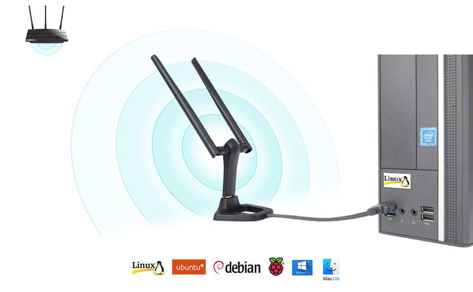 BrosTrend 1200Mbps Linux USB WiFi Adapter for Desktop, Laptop of Ubuntu,  Mint, Kali, Debian, Lubuntu, Xubuntu, Zorin, Raspbian, Raspberry Pi,  Windows