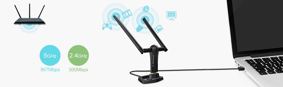 BrosTrend 1200Mbps Long Range USB WiFi Adapter for PC, Desktop, Laptop of Windows 10/8.1/8/7/XP, MAC, 2.4G/ 5GHz, w/ 2 X 5dBi Antennas, USB 3.0 Cradle