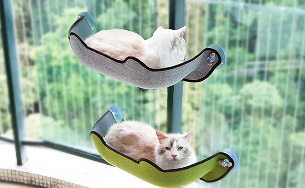 KOBWA Cat Window Bed, Cat Window Perch Mounted Cat Bed Seat Lounger with 1 Mat and 3 Large Suction Cups Cat Resting Sofa Safe Sunbath Holds up to 40 ...