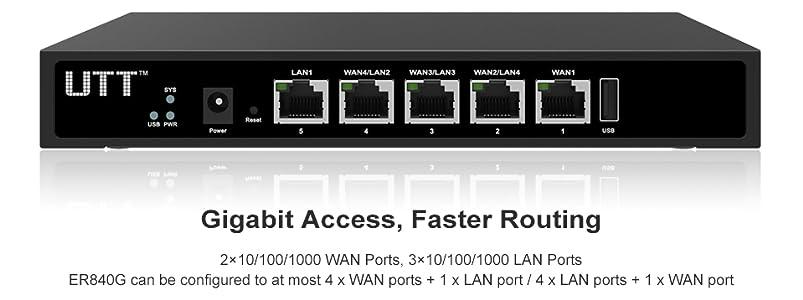 Firewall 4 Gigabit WAN Ports IP Phone// Cam UTT ER840G Dual WAN 10x VPN Router