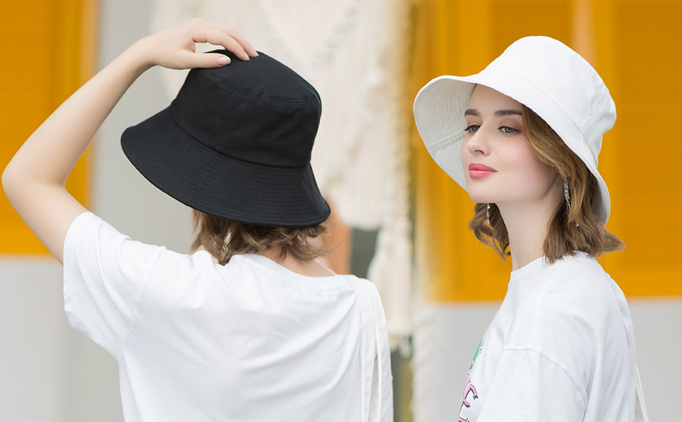 UV Sunhat Bucket Hat Wide Brim Sunhat Personalized Cotton UV Beach Hat Convertible Sunhat Two Hats in One Reversible Sun Hat