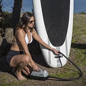Tower Premium iSUP 12V Pump - 20 PSI - Compact Digital Air Pump Compressor with Preset PSI Auto Shut Off for Inflating SUP Paddle Boards, Boats, ...