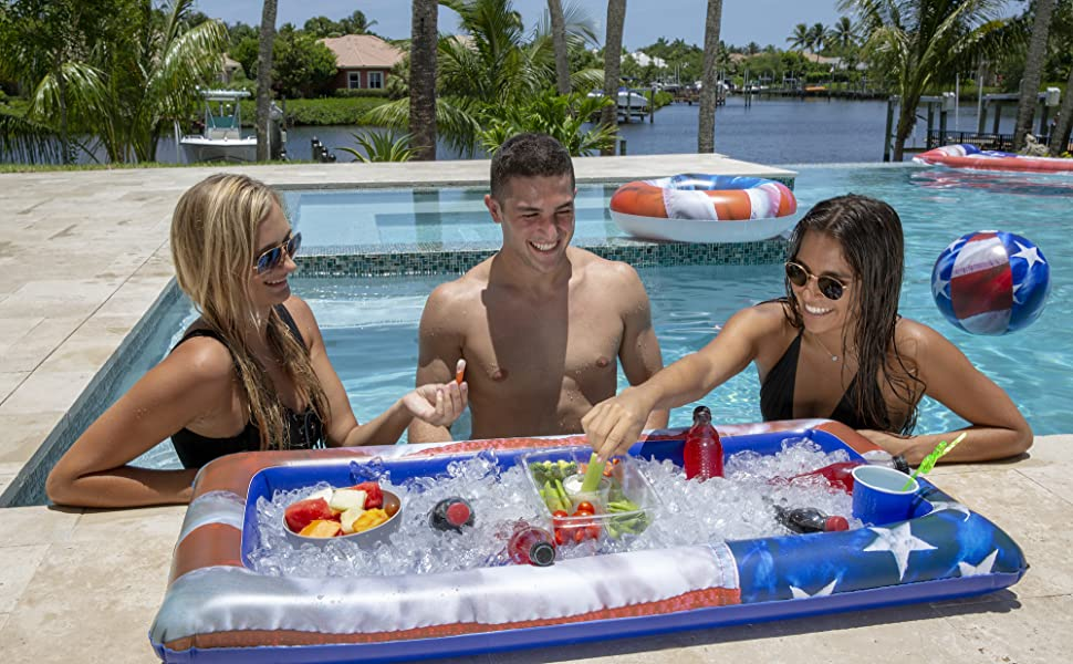 American Cooler, Table Top Cooler, Pool Cooler, Pool Serving tray, Floating bar, inflatable bar