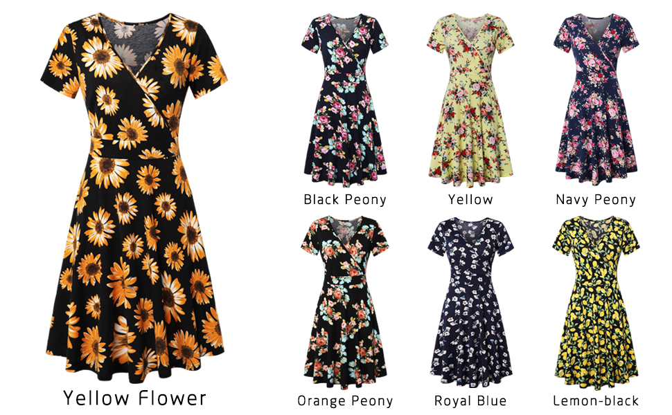 6eaee5522d0 EMVANV Women's Deep V Neck Short Sleeve Floral Cross Wrap Dress for Work  Casual Cocktail Dresses