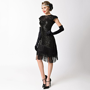 0a36cd84427 Unique Vintage Black Beaded   Sequin Margaux Sleeved Fringe Cocktail ...