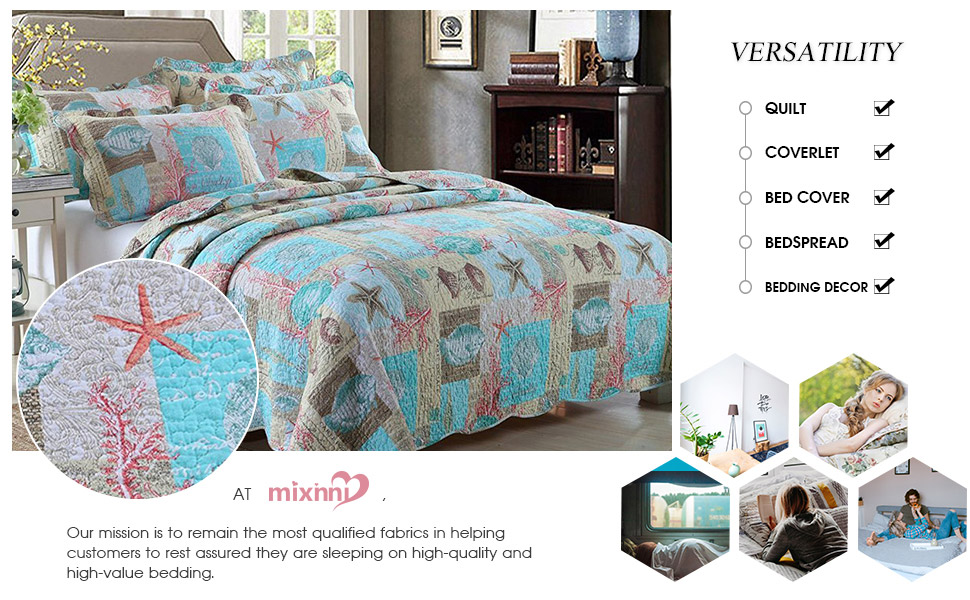 bring the tranquil ambiance of the sea to your bedroom with this 3 piece beach seashell coastal comforter bedding quilt set the set will add a touch of