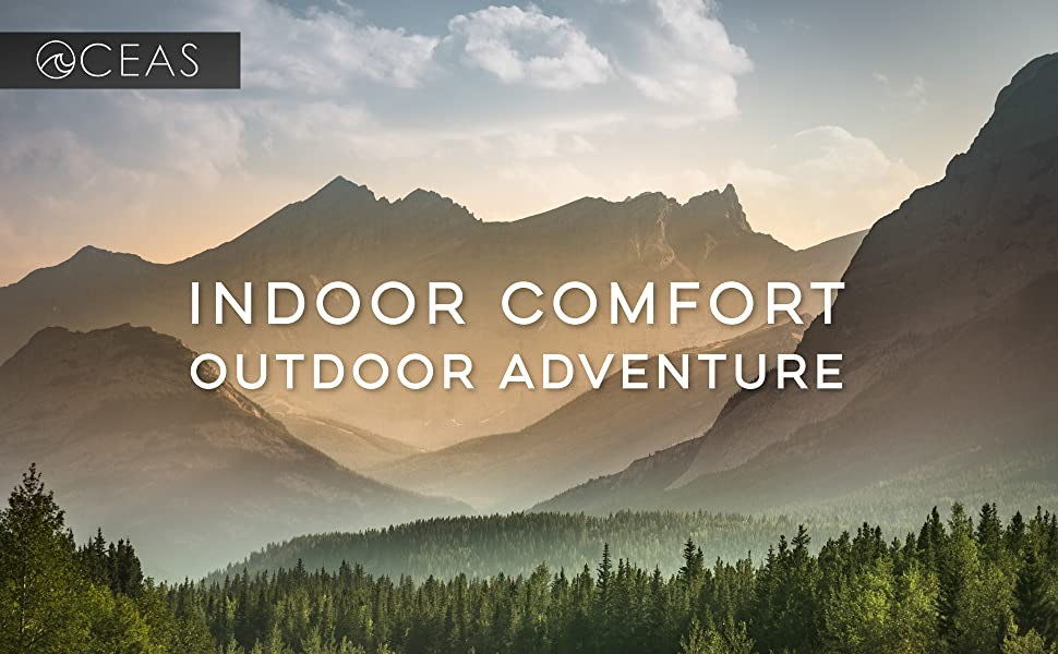 beautiful outdoor mountains surrounded by beautiful nature, titled make the outdoors convenient