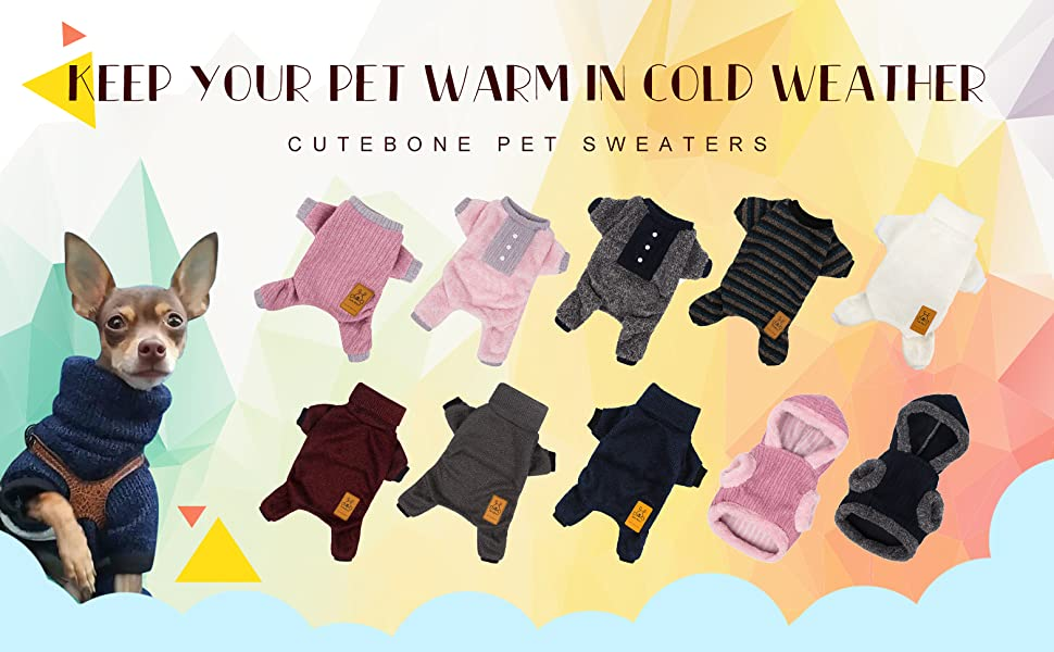 Jumpsuit Fit Your Puppy Warm in Frozen Cold Weather CuteBone Dog Sweater for Small Dogs Onesie Turtleneck Knitted Coat Pet Clothes