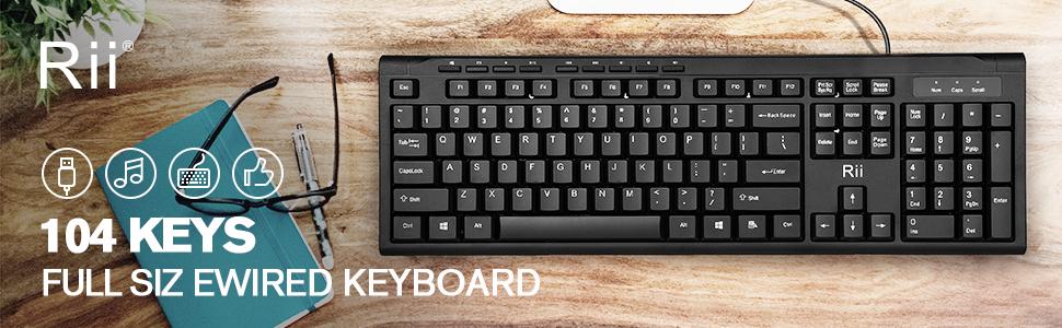 Rii RK907 USB Wired Keyboard