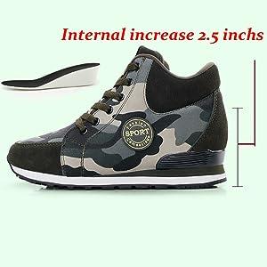 8dcaf66506fe9 Amazon.com | No.66 TOWN Women's Camouflage High-Heel Sneakers Inner ...