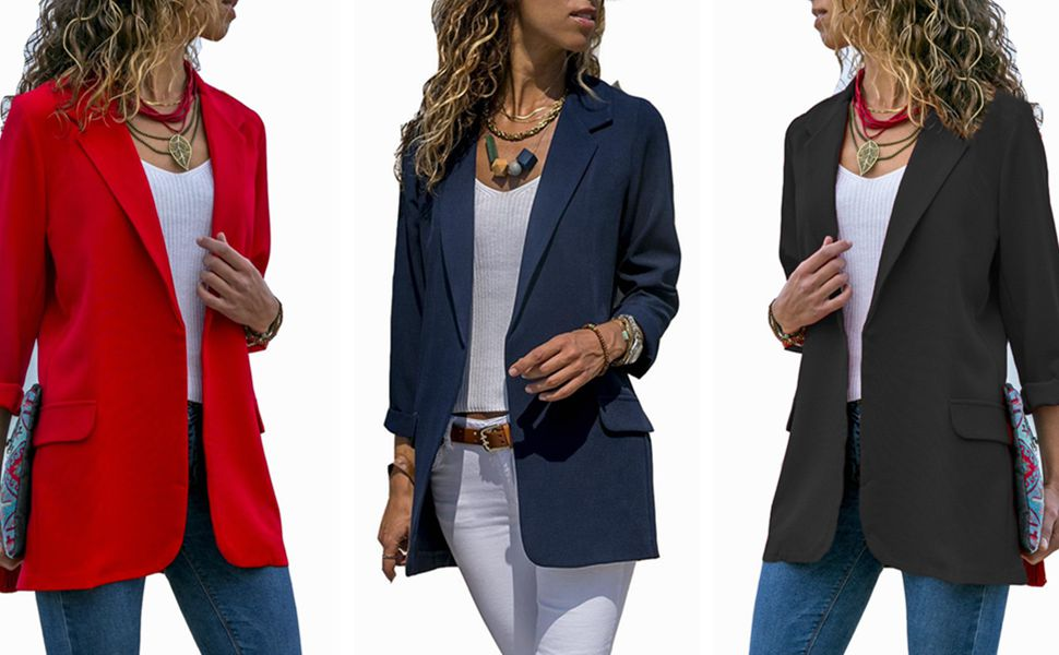 2fdcc1e2bc Women s Ladies Open Front Long Sleeve Work Office Blazer Jacket Cardigan  Casual Basic OL Blazer Suit