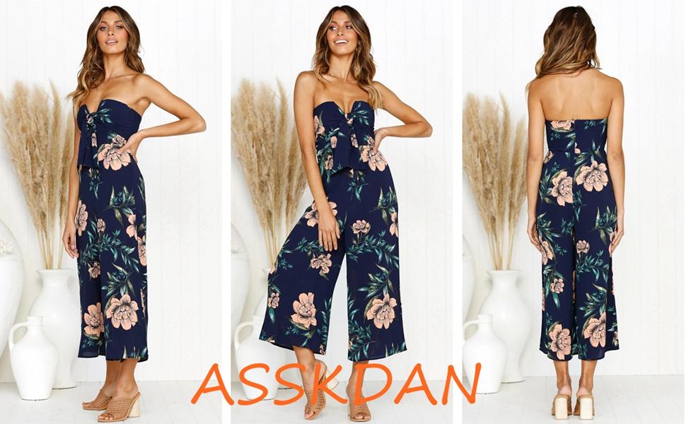 d60ab7924960 Women s Off Shoulder Strapless Backless Tie Front Floral Print Wide Leg  Pants Jumpsuit Romper