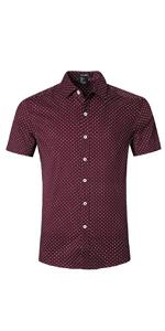 Men's Dress Polka Dots Short Sleeve Shirts