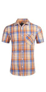 Men's Plaid Short Sleeve Work Casual Western Shirt